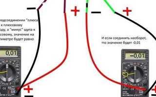 Как мультиметром быстро определить где плюс и минус