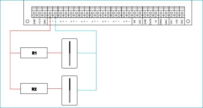 схема подключения резистивных шлейфов