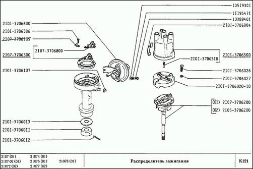 Схема распределителя ВАЗ 2101-2107