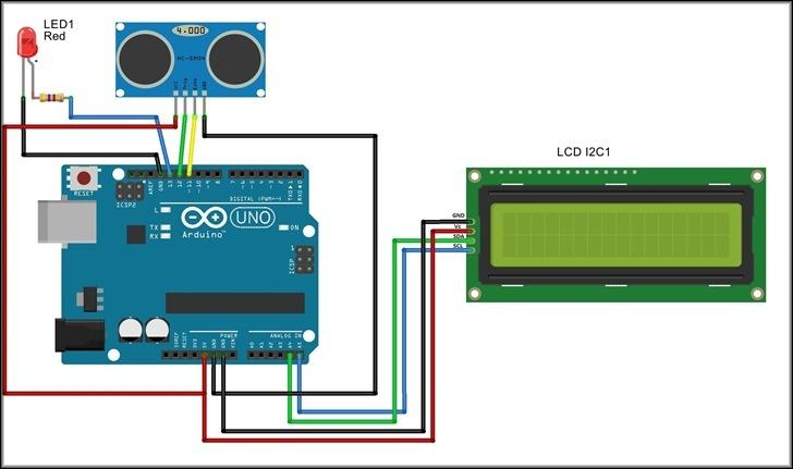 схема дальномера с LCD — дисплеем