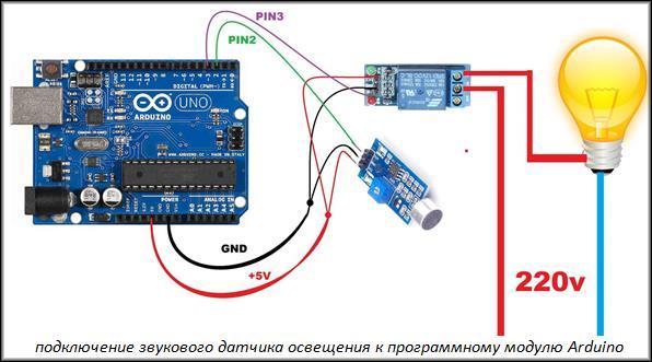 подключение звукового датчика