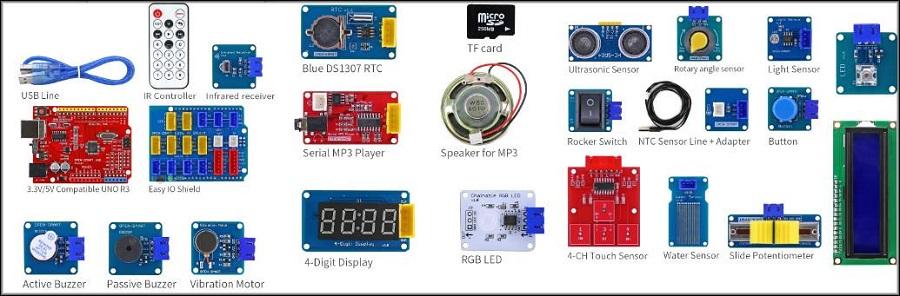 один из наборов Arduino с дополнительными модулями