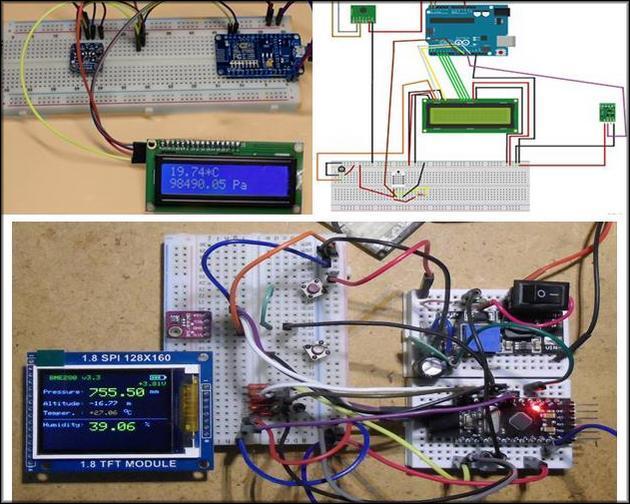 Самодельный цифровой барометр в сборе на монтажной пластине-основе