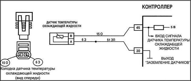 Схема подключения с внутренним устройством аналогичного датчика
