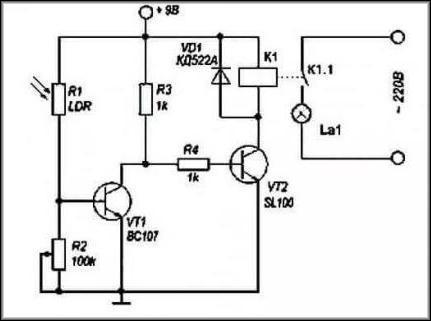 схема реализации подключения фоторезистора