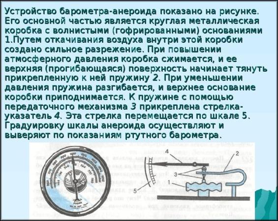 Принцип действия механического барометра