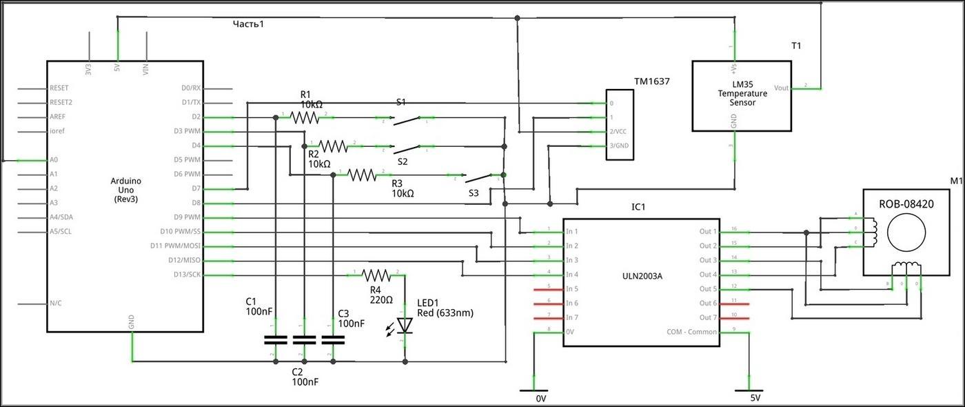 Принципиальная схема цифрового градусника с Arduino
