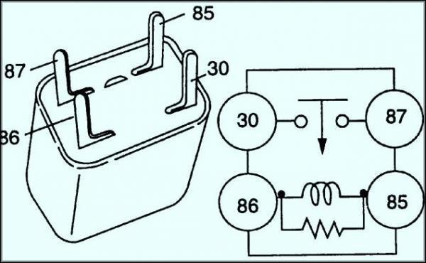 Схема 4 контактного реле