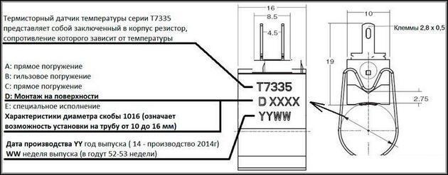 Расшифровка обозначений на датчиках NTC