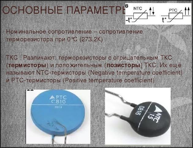 Основные параметры температурных NTC