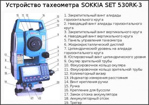 Устройство тахеометра Sokkia Set 530RK-3