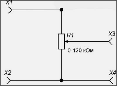 Переменный резистор как потенциометр