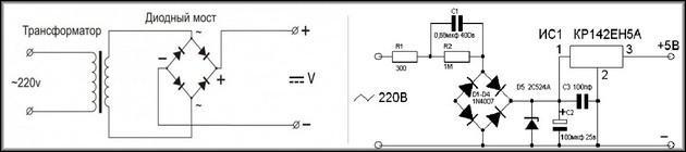 Диодные мосты слева-направо в трансформаторном БП и электронном