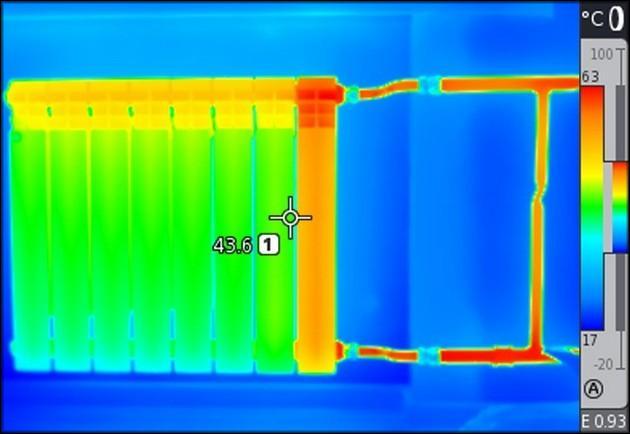 Радиатор отопления в тепловизоре