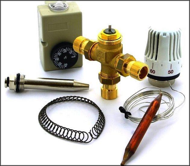 Комплект терморегулятора с трехходовым клапаном