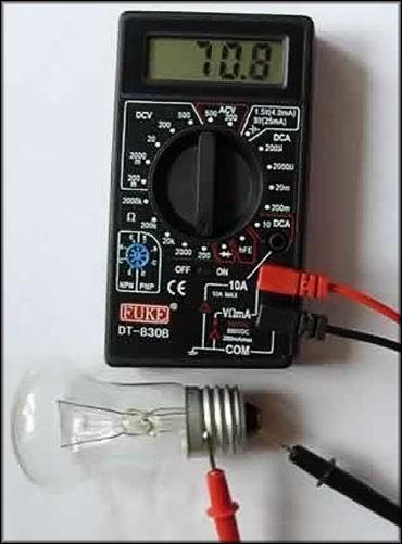 Проверка лампы накаливания