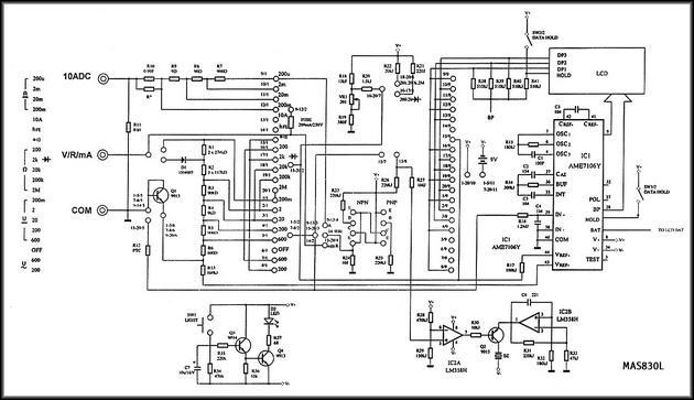 Схема мультиметр Mastech MAS830L