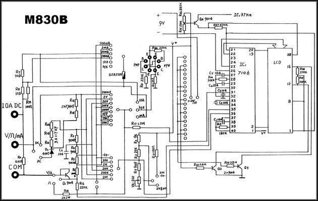 Принципиальная схема мультиметр MASTECH-830B