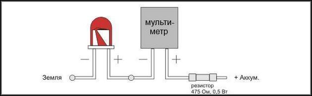Определение напряжения светодиода