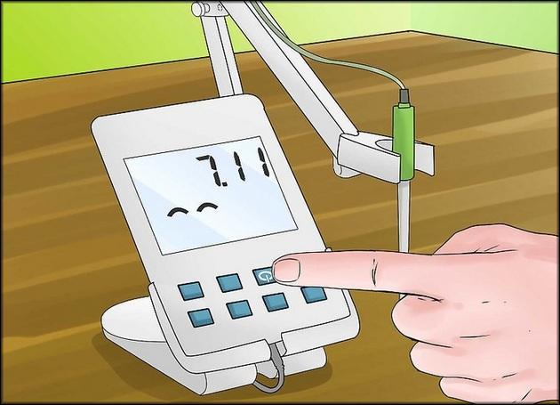 Включить и откалибровать pH-метр