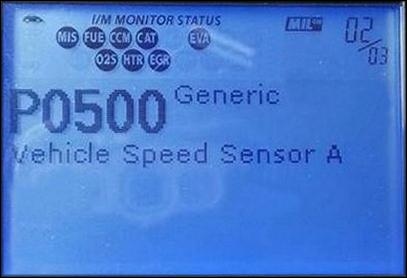 Ошибка датчика скорости