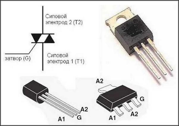 Виды симисторов и их обозначение на электросхеме