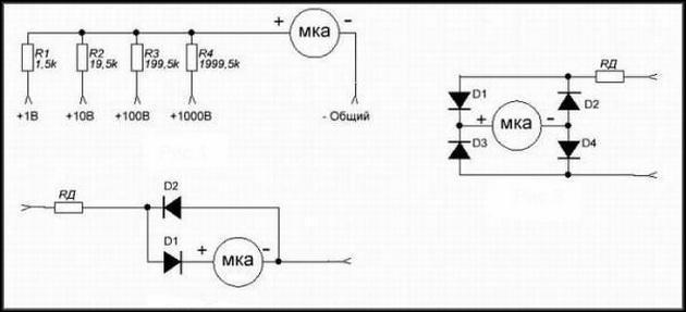 Схема простого вольтметра
