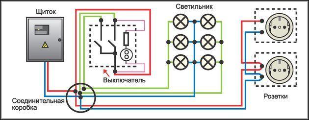 Схема подключения розетки в сеть