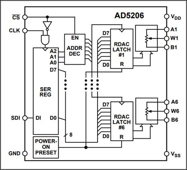 Схема цифрового потенциометра AD5206