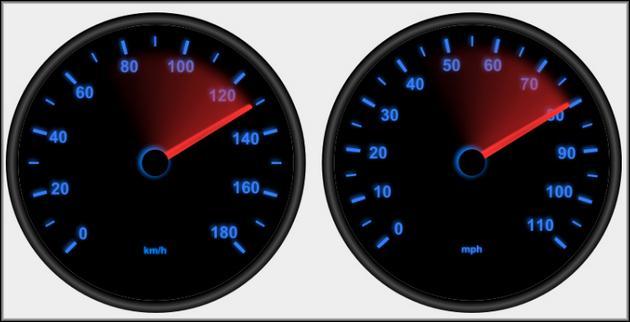 Скорость и пробег измеряют и в милях и в километрах