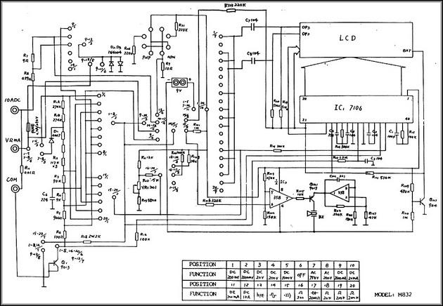 Мультиметр М832 схема