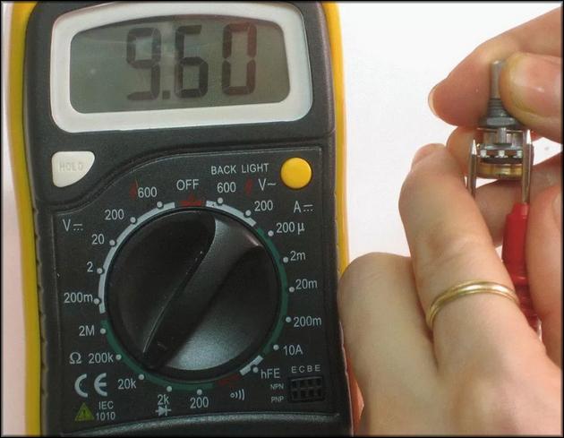 Проверка выпаянного потенциометра
