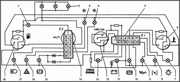Разьемы приборной панели 2114