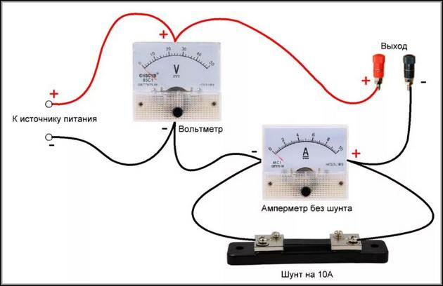 Схема подключения вольтметра и включения в цепь амперметра