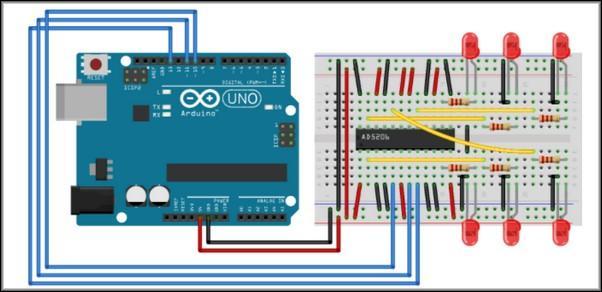 Схема подсоединения ЦП к плате Arduino
