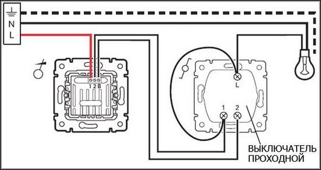 Схема диммирования с выключателем