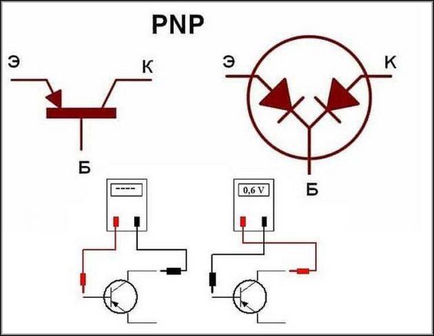 Проверка мультиметром PNP транзистор
