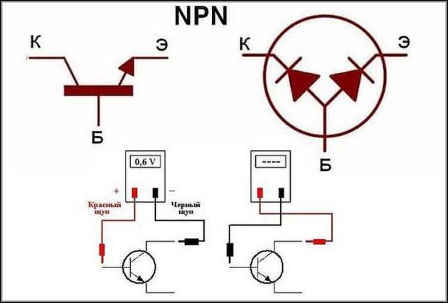 Проверка мультиметром NPN транзистор
